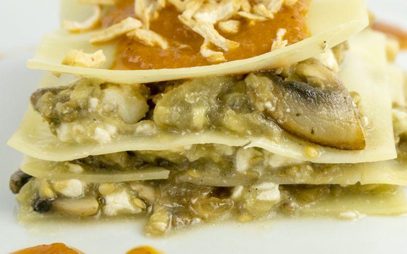 Lasaña de berenjenas y queso feta